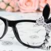 แว่นตาแฟชั่นเกาหลี กระต่ายดำขาว (ไม่มีเลนส์)