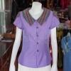 เสื้อผ้าฝ้ายสุโขทัยสีม่วงแต่งผ้ามุกสายรุ้ง ไม่อัดผ้ากาว ไซส์ S