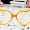 แว่นตาแฟชั่นเกาหลี กรอบหัวใจสีเหลือง (ไม่มีเลนส์)