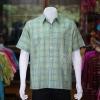 เสื้อเชิ้ตผ้าทอลายสก็อต ไม่อัดผ้ากาว สีเขียว-เหลือง ไซส์ 2XL