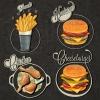 ฉลากอาหาร ของกิน สไตล์การออกแบบดีไซน์แบบวินเทจ ฉลากไว้ใช้แปะกับแพคเกจเบอร์เกอร์,เฟรนฟราย,ไก่ทอด // ตัวอย่างดีไซน์ สติ๊กเกอร์ฉลาก Chill Shop Package