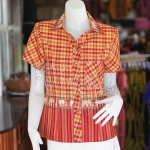 เสื้อผ้าทอลายช้างปกเชิ้ต สีแดงเหลือง ไซส์ S