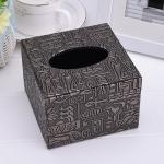 กล่องทิชชู่ร้านอาหาร หนัง pu สี Antique bronze ขนาด 11cm x 11cm x 7cm