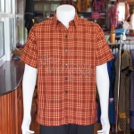 เสื้อเชิ้ตผ้าฝ้ายทอลายสก็อต ไม่อัดผ้ากาว ไซส์ L