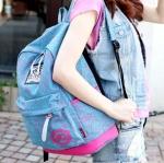 กระเป๋าเป้ backpack แฟชั้นเกาหลี ญี่ปุ่น สีฟ้าลาย
