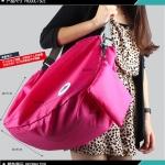 กระเป๋าเป้ backpack ผ้าร่มสีชมพูเข้ม แฟชั้นเกาหลี พับเก็บได้