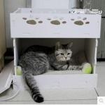 บ้านแมวสองชั้น มีดาดฟ้า มีแผ่นระบายกาศ