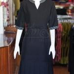 เดรสผ้าฝ้ายสุโขทัยสีดำ คอจีน แต่งปักไหม ไซส์ XL