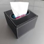 กล่องทิชชู่ร้านอาหาร หนัง pu สีดำ ใส่กระดาษทิชชู่ pop up ขนาด 11.5cm x 11.5cm x 9cm