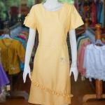 เดรสผ้าฝ้ายสุโขทัย สีเหลือง ไซส์ 3XL