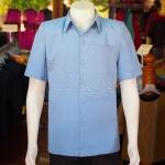 เสื้อสูทผ้าฝ้ายผสม สีฟ้าเทา ไซส์ L