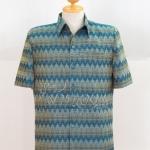 เสื้อสูทผ้าฝ้ายลายมัดหมี่สุโขทัย สีฟ้าน้ำทะเล ไซส์ 2XL