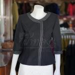 เสื้อผ้าฝ้ายสุโขทัยสีดำแต่งปักไหม ไซส์ XL