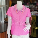 เสื้อผ้าฝ้ายสุโขทัยสีชมพูแต่งผ้ามุกสายรุ้ง ไม่อัดผ้ากาว ไซส์ S