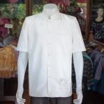เสื้อสูทไหมแพรทองคอพระราชทานแขนสั้น สีขาวนวล ไซส์ L
