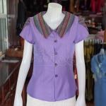 เสื้อผ้าฝ้ายสุโขทัยสีม่วงแต่งผ้ามุกสายรุ้ง ไม่อัดผ้ากาว ไซส์ 2XL