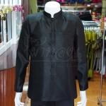 เสื้อสูทไหมแพรทองคอพระราชทานแขนยาว สีดำ ไซส์ XL