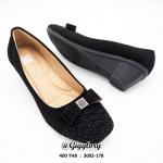 รองเท้าคัทชูทำงานส้นเตารีด สีดำกำมะหยี่ แต่งคริสตัล