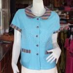 เสื้อผ้าฝ้ายสุโขทัยแต่งผ้ามุกสายรุ้ง อัดผ้ากาว ไซส์ XL
