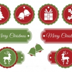 ฉลากกิจกรรมต่างๆและโปรโมชั่น สไตล์การออกแบบดีไซน์แบบใช้สีสันที่สวยงามสดุดตา ฉลากไว้ใช้แปะกับกล่องของขวัญเทศกาลวันคริสต์มาส // ตัวอย่างดีไซน์ สติ๊กเกอร์ฉลาก Chill Shop Package