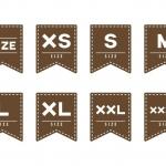 ฉลากเสื้อผ้าแฟชั่น สไตล์การออกแบบดีไซน์แบบเรียบๆแต่มีสไตล์ ฉลากไว้ใช้แปะกับคอปกเสื้อเพื่อให้บอกไซส์เสื้อที่ถูกต้อง // ตัวอย่างดีไซน์ สติ๊กเกอร์ฉลาก Chill Shop Package