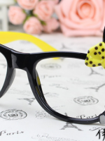แว่นตาแฟชั่นเกาหลี กระต่ายดำเหลือง (ไม่มีเลนส์)