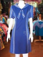 เดรสผ้าฝ้ายแต่งผ้าทอลายมัดหมี่สุโขทัย ไซส์ XL