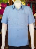 เสื้อสูทผ้าฝ้ายผสม สีฟ้าเทา ไซส์ 2XL