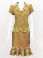ชุดเสื้อกระโปรงผ้าฝ้ายสุโขทัยแต่งลายมัดหมี่สุโขทัย ไซส์ M
