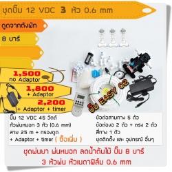 ชุดปั๊ม 12 VDC 3 หัว 0.6 mm