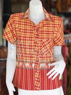 เสื้อผ้าทอลายช้างปกเชิ้ต สีแดงเหลือง ไซส์ M