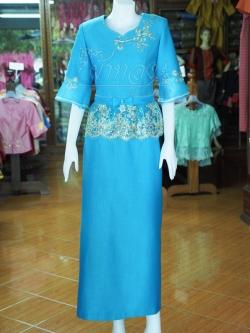 ชุดเสื้อกระโปรงผ้าฝ้ายสุโขทัยแต่งผ้าลูกไม้สีฟ้า ไซส์ M
