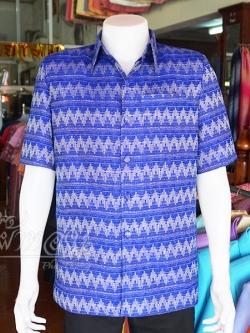 เสื้อสูทผ้าฝ้ายลายมัดหมี่สุโขทัย สีน้ำเงิน ไซส์ L