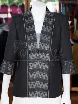 เสื้อคลุมผ้าฝ้ายสุโขทัยสีดำแต่งผ้าลายมัดหมี่สุโขทัย ไซส์ L