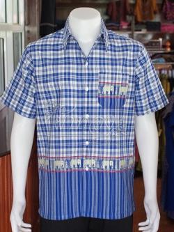เสื้อเชิ้ตผ้าฝ้ายทอลายช้าง ไม่อัดผ้ากาว ไซส์ S