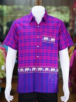 เสื้อเชิ้ตผ้าฝ้ายทอลายช้าง ไม่อัดผ้ากาว สีน้ำเงิน-บานเย็น ไซส์ L