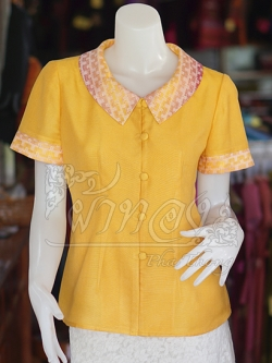 เสื้อผ้าฝ้ายสุโขทัยสีเหลืองแต่งผ้าลายหมากรุก ไม่อัดผ้ากาว ไซส์ L