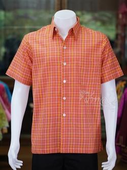 เสื้อเชิ้ตผ้าทอลายสก็อต ไม่อัดผ้ากาว สีส้ม ไซส์ L