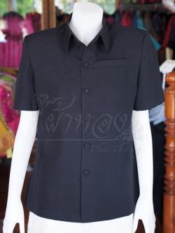 เสื้อสูทผ้าฝ้ายผสม สีดำ ไซส์ XL