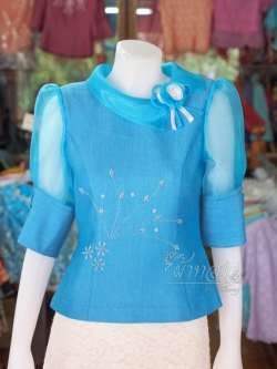 เสื้อผ้าฝ้ายสุโขทัย ปกและแขนผ้าแก้ว ไซส์ 2XL