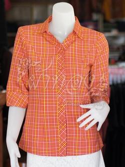 เสื้อผ้าฝ้ายทอลายสก็อต ปกเชิ้ตคอวี ไซส์ 2XL