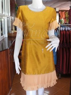 เดรสผ้าไหมแพรทองสีทองแต่งผ้าชีฟองอัดพลีท ไซส์ L