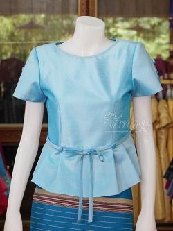 เสื้อผ้าไหมแพรทอง สีฟ้า ไซส์ XL