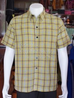 เสื้อเชิ้ตผ้าฝ้ายทอลายสก็อต ไม่อัดผ้ากาว ไซส์ 2XL