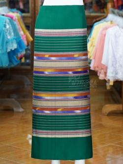 ผ้าซิ่นศิลามณี สีเขียว