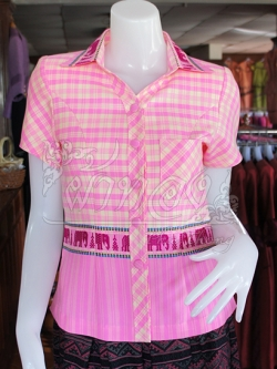 เสื้อผ้าทอลายช้างปกเชิ้ต สีชมพู ไซส์ 2XL