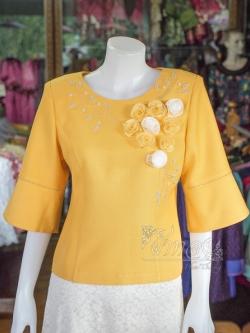 เสื้อผ้าฝ้ายสุโขทัยแต่งลูกไม้ปักมุก สีเหลือง ไซส์ 2XL