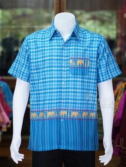 เสื้อเชิ้ตผ้าฝ้ายทอลายช้าง ไม่อัดผ้ากาว สีฟ้าเข้ม-ฟ้าอ่อน ไซส์ S