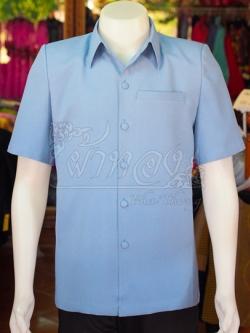เสื้อสูทผ้าฝ้ายผสม สีฟ้าเทา ไซส์ S
