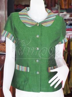 เสื้อผ้าฝ้ายสุโขทัยแต่งผ้ามุกสายรุ้ง อัดผ้ากาว ไซส์ L